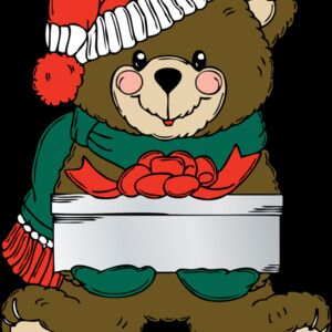johnny automatic Christmas Bear wih present Thumbnail